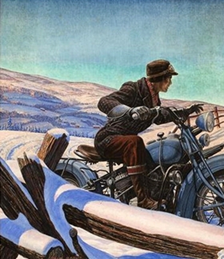 Man On An Early Motorcycle