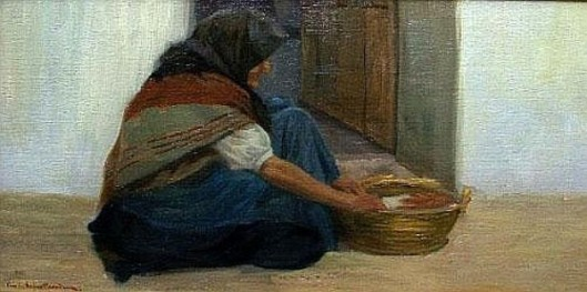 Old Woman Seated By A Doorway With A Basket