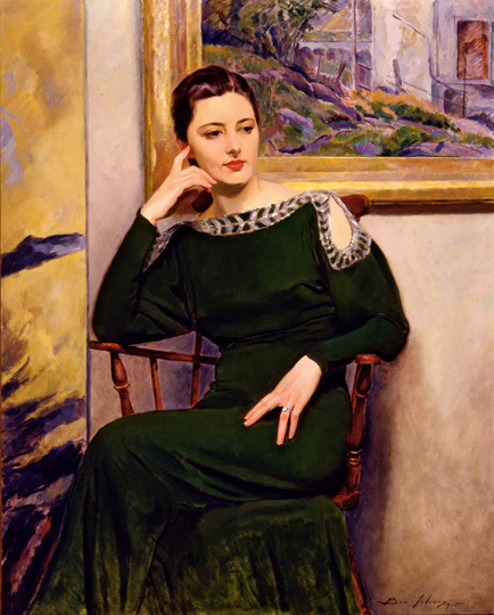 Rae Seated (Green Dress)