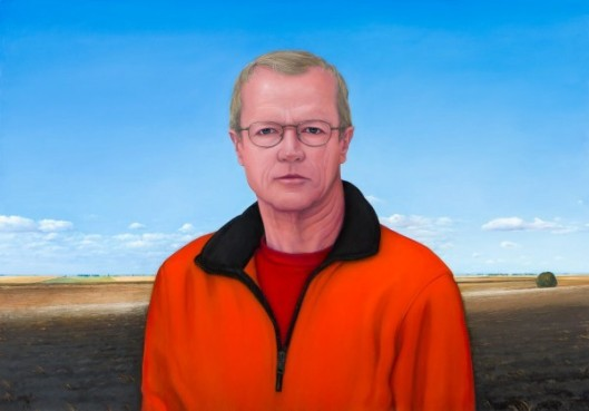 Self-Portrait In Orange Fleece With Farm