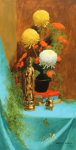 Still Life With Chrysanthemums And Oriental Sculpture