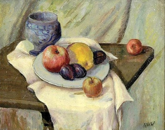 Still Life With Fruit And Blue Vase