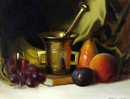Still Life With Fruit And Mortars And Pestle