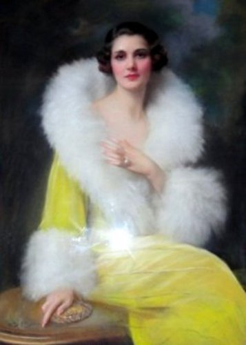 Woman In A Yellow Dress In Fur Collar