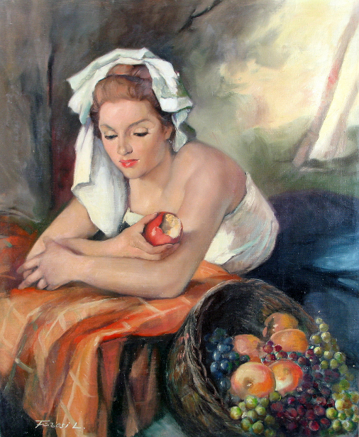 Woman In Headdress Eating Apple