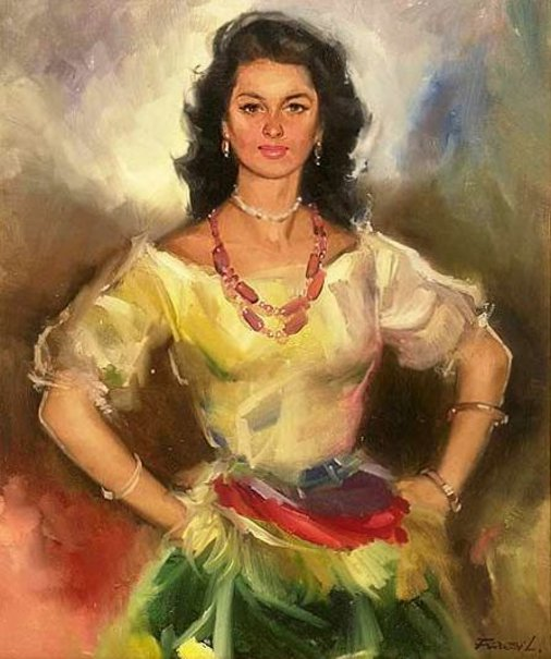 Young Woman In Colourful Skirt