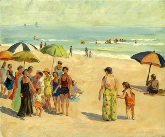 Beach Scene With Bathers