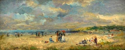 Beach Scene - Woman With A Red Parasol