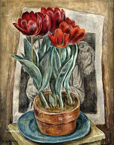 Flower Pot Of Red Tulips