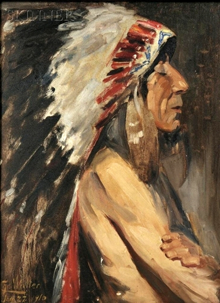Profile Of A Native American In A Feather Headdress