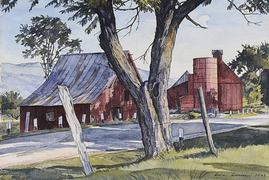 Red Barns Across A Road