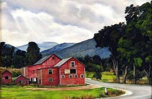 Red Barns In A Vermont Landscape