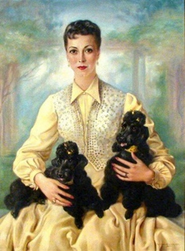 Seated Woman With Dogs, thought to be Deborah Kerr