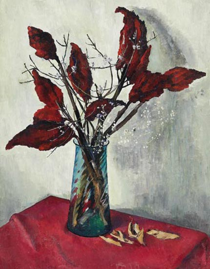 Dried Leaves - Still Life On A Red Cloth