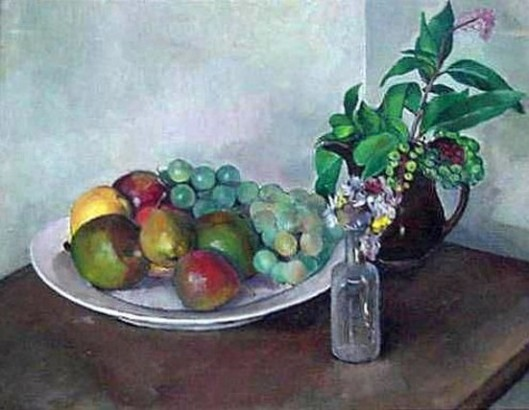 Fruit, Bottle And Pitcher