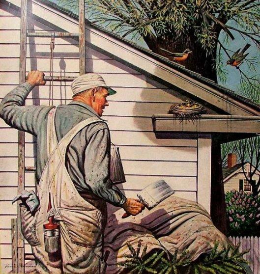 Housepainter And Bird's Nest