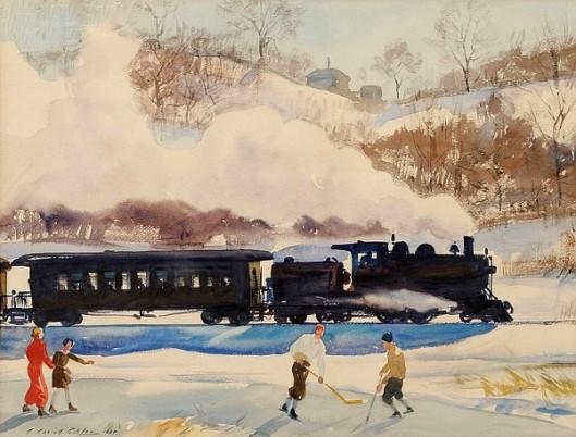 Ice Hockey By The Train Tracks