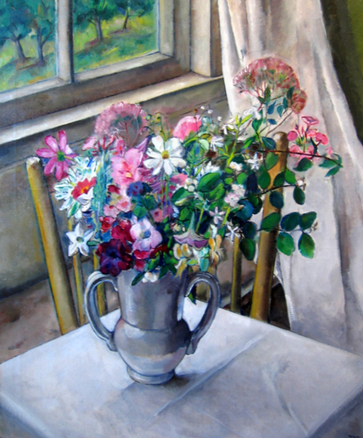 Pink Flowers In A Silver Vase
