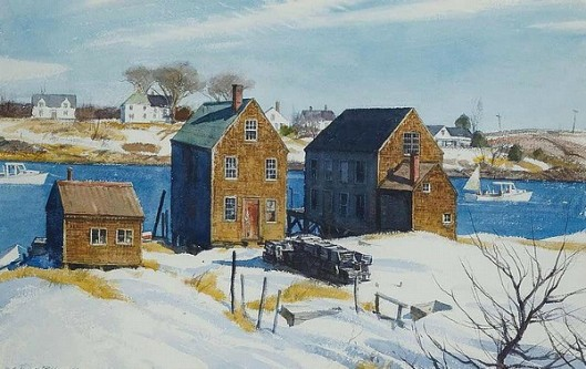 River Houses Along Snow Water