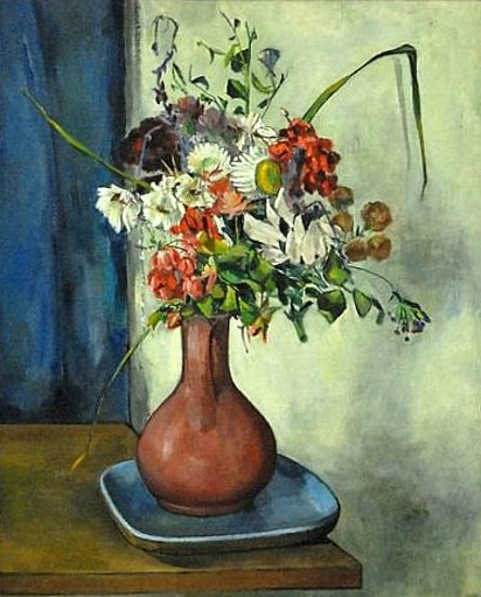 Still Life Of Flowers In Red Vase