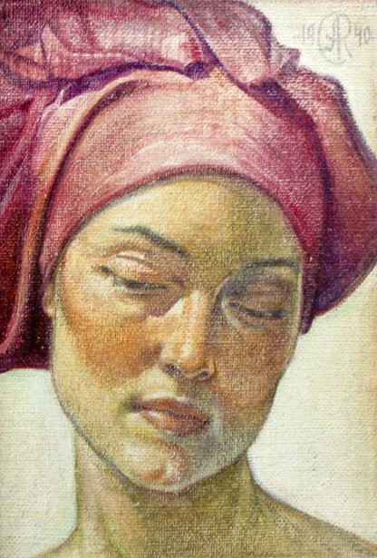 Woman With Red Head Scarf