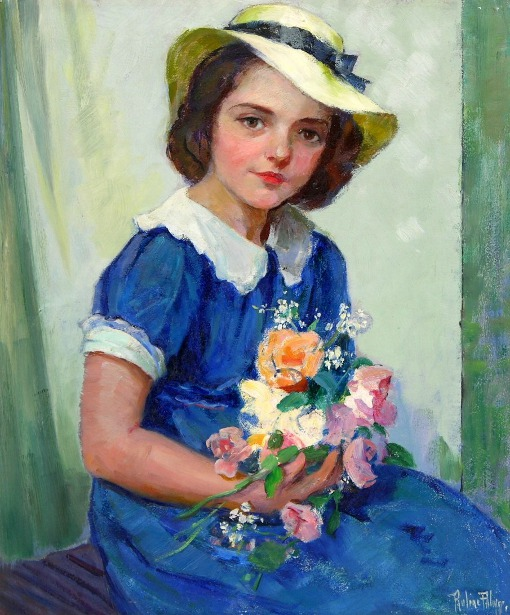 Marie Lennards - Young Girl With Flowers