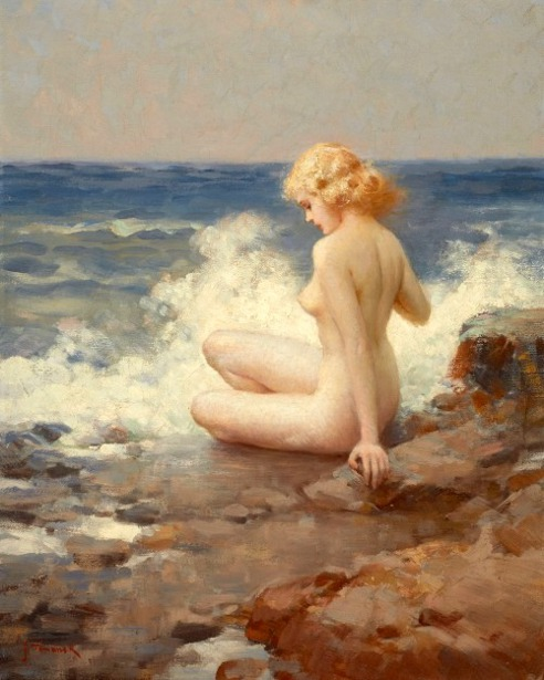 Nude On The Shore - Seated Nude On Rocky Shore