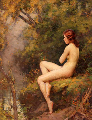 Nude Overlooking A Stream