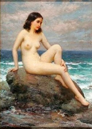 Nude Reclining On Rock