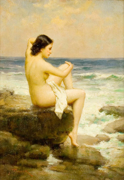 Nude Seated On A Rock