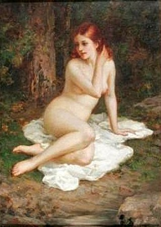 Red-Headed Nude Reclining On A White Blanket