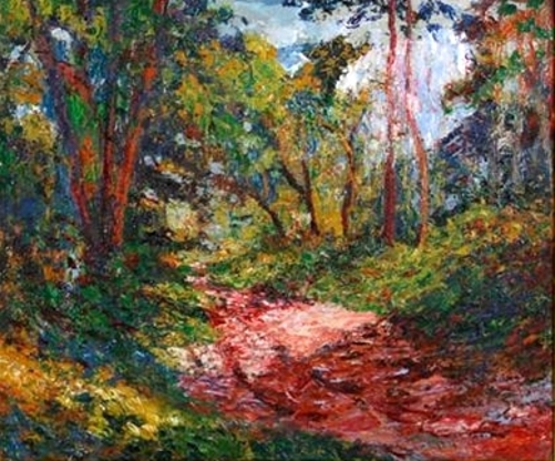 Sunlit Pathway - Wooded Landscape In New England