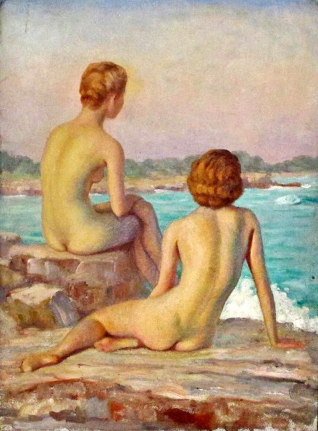 Two Nudes By The Ocean