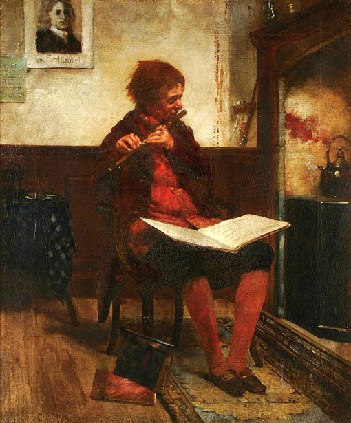 An Interior With A Flute Player