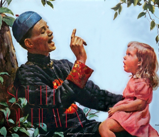 Chinese Servant Teaching American Girl To Speak