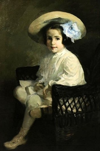 Elinor Neill Folwell Seated In A Wicker Chair