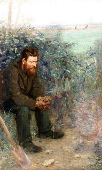 Farmer Contemplating Beside A Field