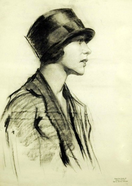 Profile Of A Young Woman In A Hat