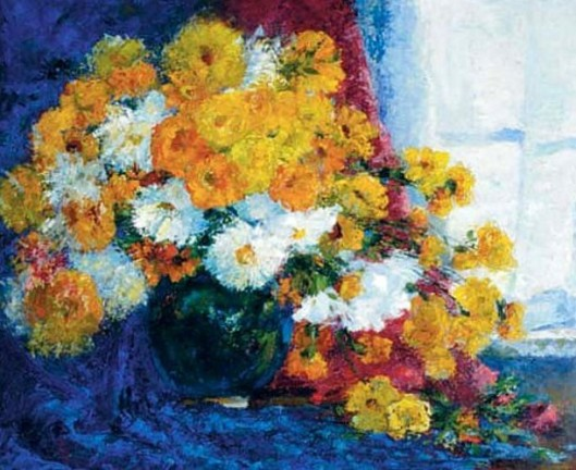 Still Life With Daisies And Marigolds