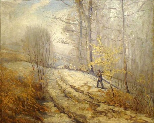 Winter Landscape - Man Walking Through Woods With An Axe