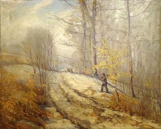 Winter Landscape - Man Walking Through Woods With An Axe