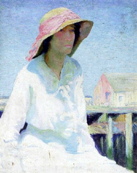 Woman Seated By The Docks