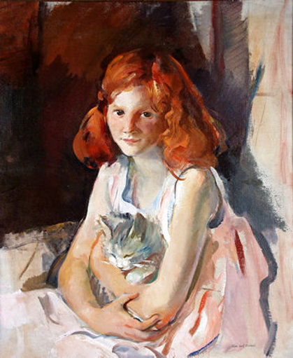 Young Girl With Cat