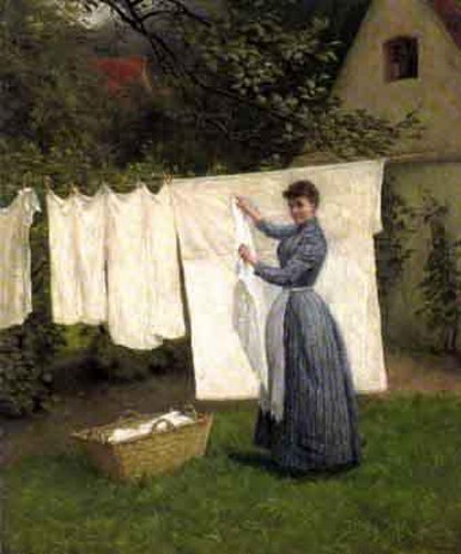Young Woman Hanging Up Washing