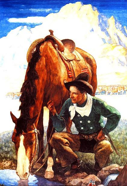 Cowboy Watering His Horse
