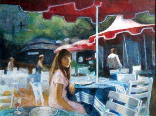 Girl Under Red Umbrella
