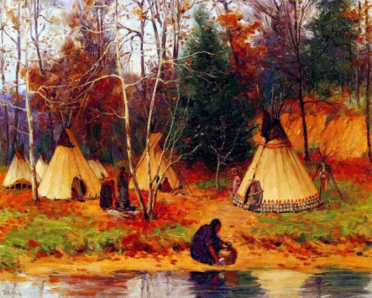 Indian Encampment In The Woods