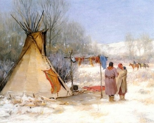 Indians Returning To A Winter Camp