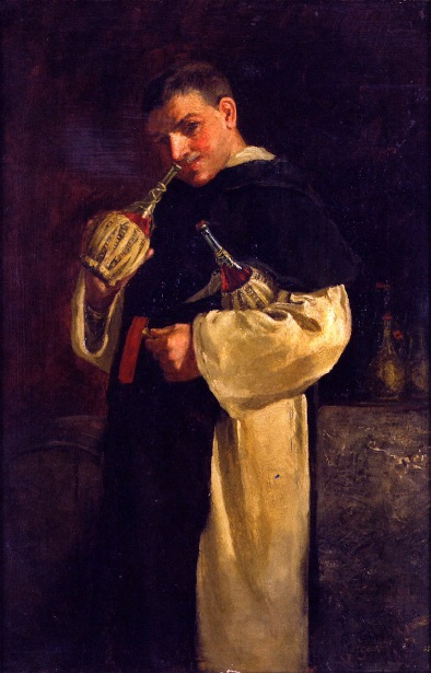 Monk Smelling A Bottle Of Wine
