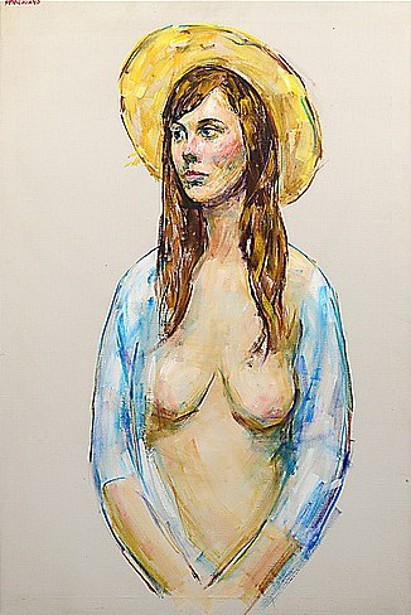 Nude Young Woman In Straw Hat